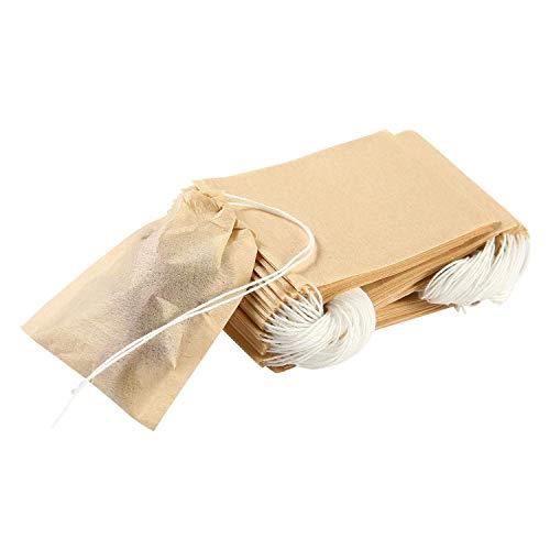 OFNMY 200 Pezzi Sacchetti di Tè Filtro Monouso Bustine da Tè Naturale Greggi Carta Infondere Coulisse Vuoto Borsa per Tè Allentato di Foglia