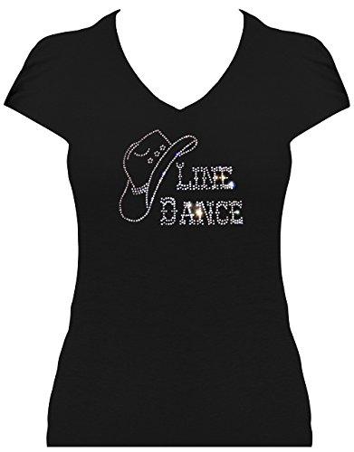 Fun Shirt Line Dance mit Cowboyhut kristall Elegantes Damen Strass Shirt, T-Shirt, Grösse XL, schwarz