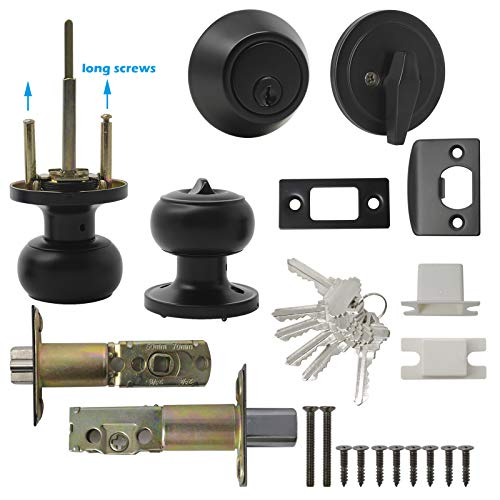 GOBEKOR 4 Pack Keyed-Alike Exterior Front Door Knob Set with Single Cylinder Deadbolt Combo Locksets in Black,Keyed Entry Entrance Door Round Ball Handle with Lock and Deadbolt Same Key