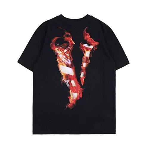 Keren Pa V Lettera T-Shirt Fiamma Stampa Hiphop Rapper Manica Corta Camicia Cotone Girocollo Tee Shirt Nero M