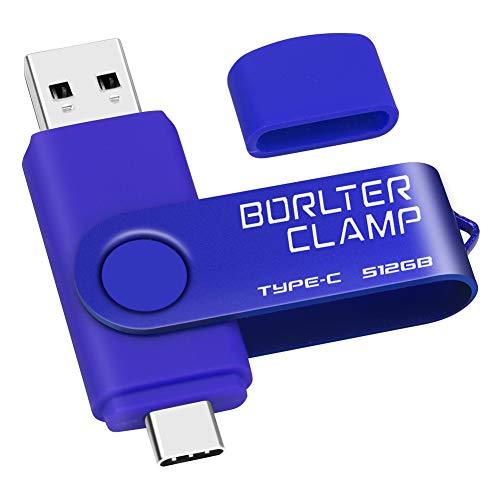512GB Memoria USB Tipo C, BorlterClamp Doble Unidad Flash (USB C y USB-A 3.0), Type-C OTG Pendrive Memory Stick para Smartphones Android Samsung S10 S8, Huawei Honor, etc, Tableta y Laptop (Azul)