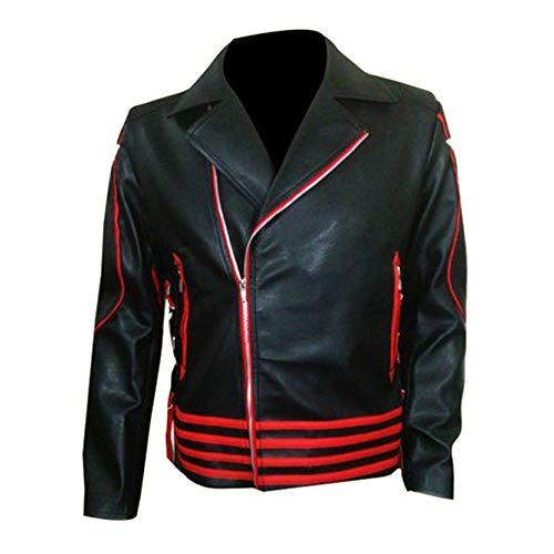 Freddie Mercury - Disfraz de cantante de rock (piel sintética), diseño elegante