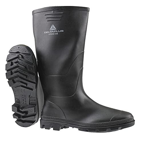 MENS DELTA PLUS RUBBER WATERPROOF RAIN WINTER WELLINGTONS WELLIES BOOTS SHOES (UK 9, BLACK)
