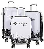 Trendyshop365 Hartschalen Koffer-Set 3-teilig mit Motiv Bedruckt - Fly The World Weiß - 4 Rollen Flugzeug Städtedesign