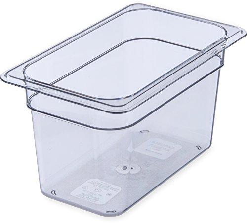 "Carlisle 3068207 StorPlus Fourth Size Food Pan, Polycarbonate, 6"" Deep, Clear"