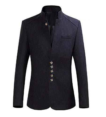 Aooword-men clothes Mao cuello abrigo ocio delgado traje de moda de gran tamaño blázer Para Hombres