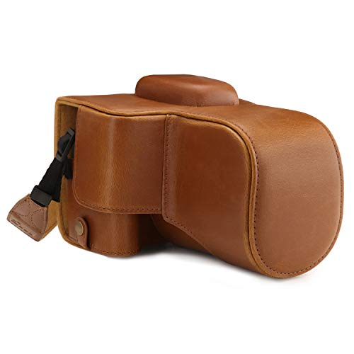 MegaGear MG1609 Ever Ready Leather Camera Case compatible with Canon EOS Rebel T7 (18-55mm), 2000D (18-55mm) - Light Brown