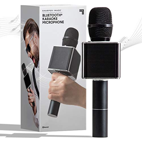 SHARPER IMAGE Bluetooth Music Stream Karaoke Microphone with Built-in Speaker, Bluetooth & Smartphone Compatible, Black