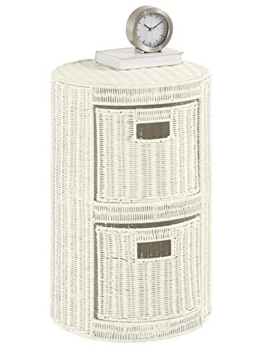 heine home Kommode Schrank aus hochwertigem Rattangeflecht weiß ca. H/Ø ca. 61/40 cm