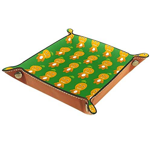 YATELI Caja de Almacenamiento pequeña, Bandeja de Valet para Hombre,Verde Naranja,Organizador de Cuero para Llaves de Caja de Monedas