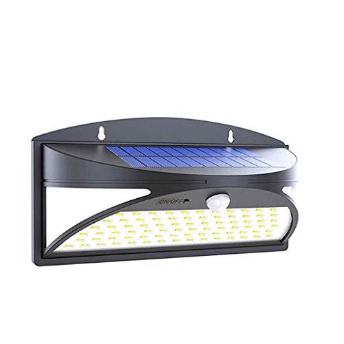 KX&VV 100LED Solar Light Solar Light Outdoor 1.6 watt IP65 zonnelamp waterdicht met bewegingsmelder wandlamp voor patio yard hek gazon verlichting afmetingen: 30 * 22 * 15 cm (zwart) (2 pak)