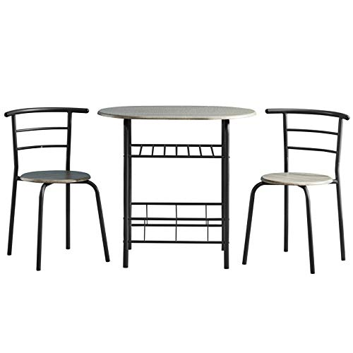 AINPECCA Dining Table Set Small 3pcs Kitchen Set Breakfast Bar Dining Table and Modern Chairs Set Compact Dining Table with Two Chairs MDF with Metal (Grey)