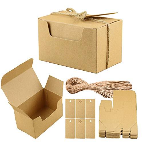 Aweisile 50 piezas Kraft Papel Cajas de Regalo Papel Kraft Cajas para Dulces Cajita de Rectángulo con etiquetas de regalo y cuerda de cáñamo para Fiestas Bodas Galletas Joyas Regalo Dulces 10x6x6cm