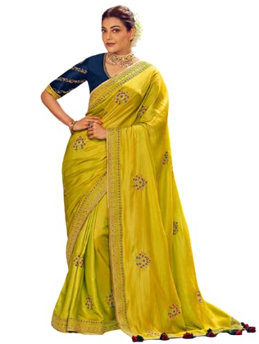 Silk Saree Indian Embroidery Border Party Wedding Wear Rich Border Bollywood designer collection