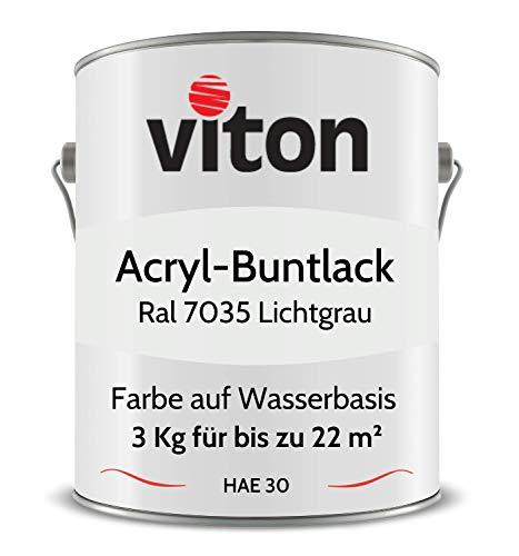 Buntlack von Viton - 3 Kg Grau - Seidenmatt - Wetterfest für Außen und Innen - 2in1 Grundierung & Lack - HAE 30 - Nachhaltige Farbe auf Wasserbasis für Holz, Metall & Stein - RAL 7035 Lichtgrau
