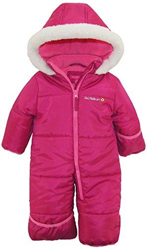 Pink Platinum Baby Girls' One-Piece Puffer Winter Snowsuit with Hood (Newborn & Infant), Berry, Size 6/9 Months