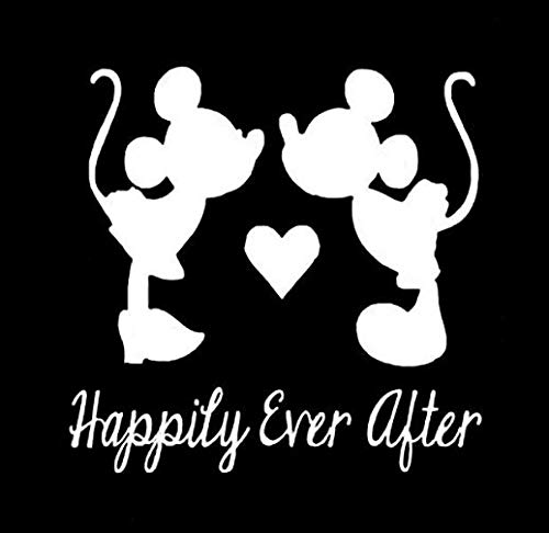Mickey Minnie Happily Ever After Makarios LLC | Coches Camiones Vans Walls Laptop MKR | Blanco | 5,5 x 4,5 | MKR815