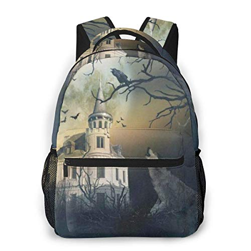 Lawenp Haunted Castle With Wolf Howling Halloween Spooky Night Dead Tree Casual Backpack For School Outdoor Travel Big Student Fashion Bag