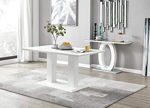 Imperia 6 Modern White High Gloss Dining Table And 6 Luxury Premium Murano Dining Chairs Set (Dining Table Only)
