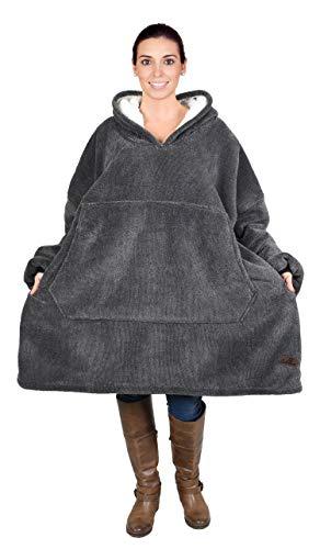 Kato Tirrinia Übergroße Sherpa Hoodie Sweatshirt Decke, Weiche Warme Riesen Hoodie Fronttasche Giant Plüsch Pullover Decke mit Kapuze for Erwachsene Männer Frauen Teenager-Studenten, Aschschwarz