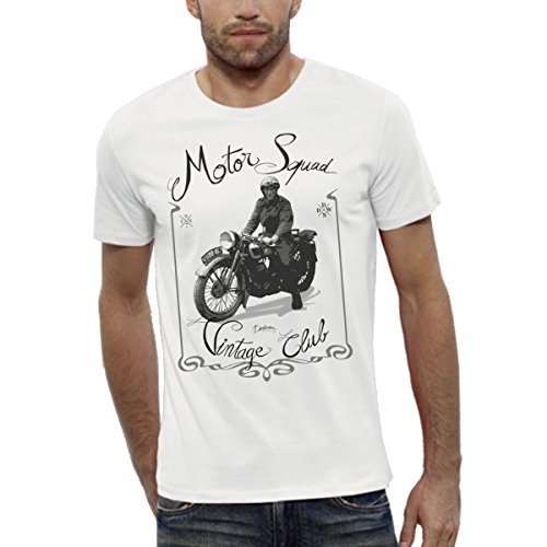 T-Shirt Bio Imprimé Blanc Manches Courtes - Moto Vintage - Homme du XS au XXL