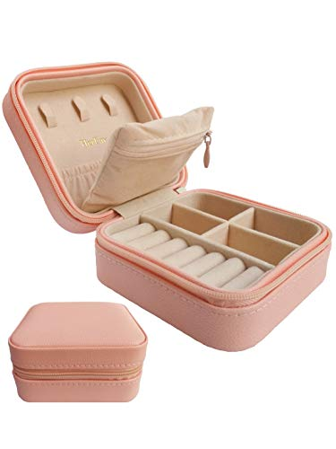 HerFav Travel Jewelry Organizer, Small Jewelry Box Mini Portable Jewelry Case for Rings Earrings & Necklace for Women Girls (Pink)