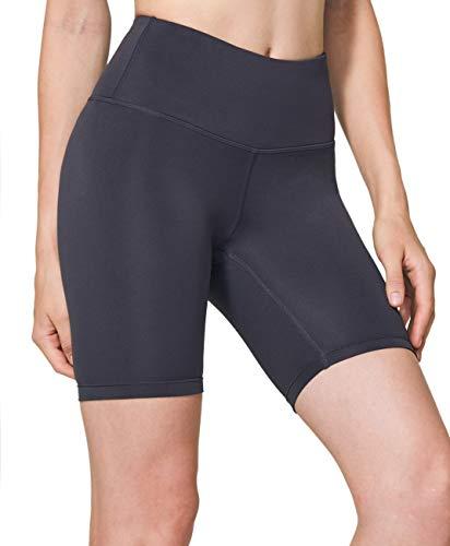 TSLA Damen Yoga Shorts mit mittlerer/hoher Taille und versteckter Tasche, Workout/Laufshorts und undurchsichtige Shorts mit athletischem Stretch, Fgs17 7inch - Charcoal, L