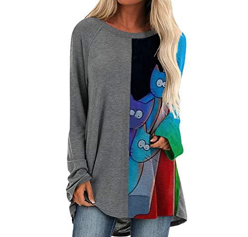 SLYZ Blusa De Camiseta De Manga Larga con Estampado De Moda Suelta De Estilo Nuevo para Mujer De Primavera