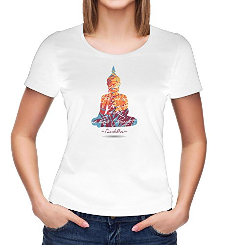 Kris Talas Buddha T-Shirt | Graphic Meditation | Spiritual Gift | Yoga Quotes | Namaste | Om | India Woman t-Shirt White Small