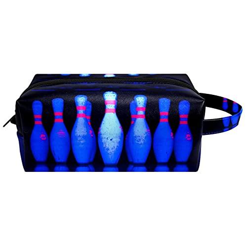 Anmarco Bowling Kosmetiktasche für Damen, Mikrofaser, Leder, Make-up, mit Reißverschluss