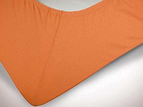 npluseins klassisches Jersey Spannbetttuch – erhältlich in 34 modernen Farben und 6 verschiedenen Größen – 100% Baumwolle, 70 x 140 cm, terrakotta - 6