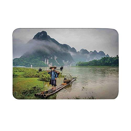 AoLismini Gestalten Sie rutschfeste Türmatte, Fischer des traditionellen Chinesen mit Vögeln und Korb auf Fluss-Nebel-Gebirgsbaum-Bodenmatte für Badezimmer-Wohnzimmer landschaftlich