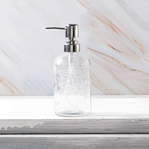 HLZY Dispensadores de jabón de encimera de baño, Dispensador de jabón 13.5 Oz Dispensador de jabón de Vidrio Dispensador de loción con dispensador de jabón del Cabezal de la Bomba de plástico