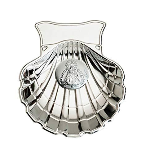 Concha Bautismal de la Virgen del Pilar en metal plateado incluida su personalizaci/ón con nombre y fecha