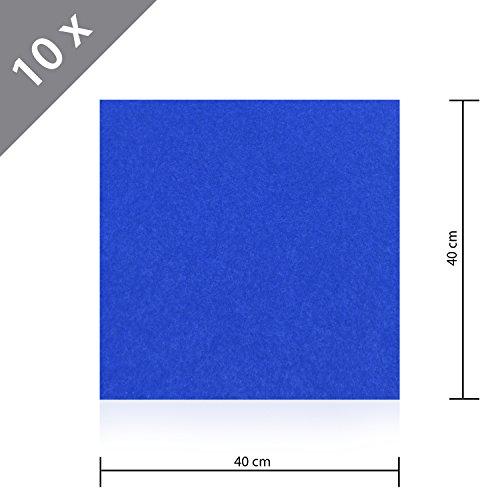 10 x HSM Teppichfliese Nadelfilz Bodenbelag selbstklebend für Treppe, Kinderzimmer oder Küche 40cm x 40cm BLAU