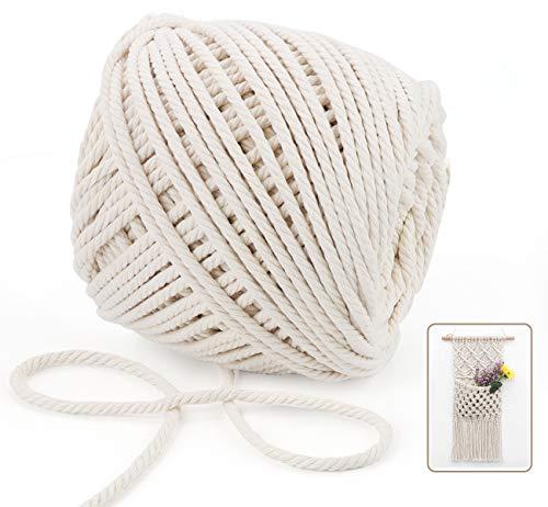 Anstore Makramee Baumwolle, 100 m x 5 mm, handgefertigt, natürliche Baumwollschnur für Pflanzenaufhänger, Wandbehang, DIY Handwerk (Beige)