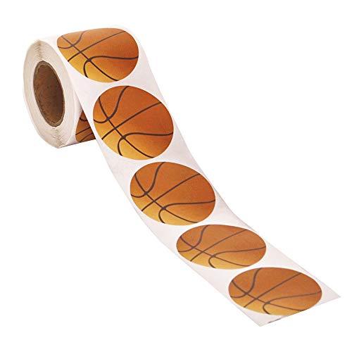 """Officeship 2""""Dia Basketball Sticker, Tennis Sticker, Football Sticker, Sports Ball Stickers, 250 PCS/Roll-Basketball-1ROLL"""