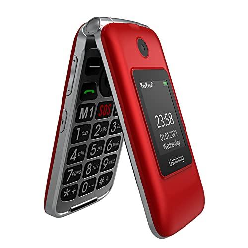 """Ushining 3G Telefono Cellulare per Anziani, Telefono Cellulare a Conchiglia con Tasti Grandi Volume Alto Funzione SOS Base di Ricarica Doppio Schermo di Visualizzazione (1,77"""" e 2,8"""") - Rosso"""