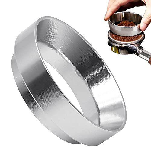 58mm Coffee Dosing Ring, Aluminum Espresso Dosing Funnel, Coffee Dosing Espresso Magnetic Dosing Ring, Coffee Maker Replaceable Accessory for 58mm Portafilter Funnel and Tamper (Silver)