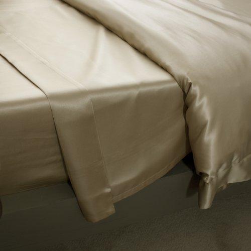 Jasmine Silk - Lenzuolo in 100% seta Charmeuse (tortora) per letto matrimoniale, 230 x 275 cm