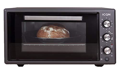 ICQN 50 Liter Minibackofen mit Umluft Schwarz | 90 Min Timer | Pizza-Ofen | Mini Ofen | Innenbeleuchtung | Doppelverglasung | Turbolüfter | Drehspieß | 1400 W