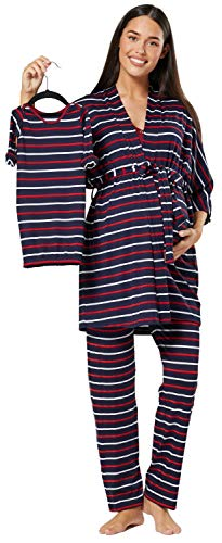 Happy Mama Women's Maternity Nursing Pyjama Gown Baby Mama 4pcs Matching Set 181