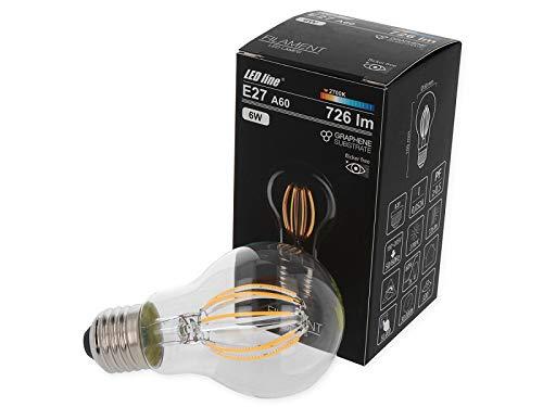 Bombilla LED E27 de filamento 180-265 V, 6 W, 726 lm, 2700 K, A60, sustrato de grafeno