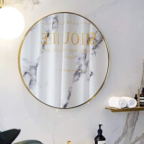 Gcgg Espejo De Pared Suspendida Baño, Acabado En Latón Creativo Simple Y Lujoso Decorar Espejo Montado En La Pared para Baño Hoteles Tocador Espejo de Maquillaje (Size : 80cm)