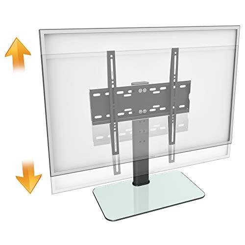 RICOO FS304-W, TV-Ständer, 30-55 Zoll (ca. 76-140cm), Fernseh-Halterung Fernseher-Stand, Fernseh-Ständer, VESA 200x200-400x400, Schwarz, Weiß Glas