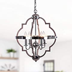 【Farmhouse Geometric Pendant】 If you like a light fixture with a wooden appearance and rustic metal trim, this is what you're looking for. This vintage chandelier is perfect for the bedroom, living room, dining room, hallways, restaurant. 【Easy Insta...