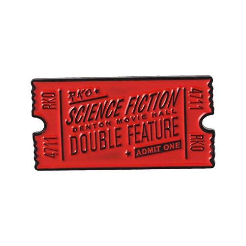 JTXZD Brosche Rocky Horror Emaille Pin rot schwarz Movie Ticket Abzeichen Brosche Anstecknadel Jeanshemd Kragen Science Fiction