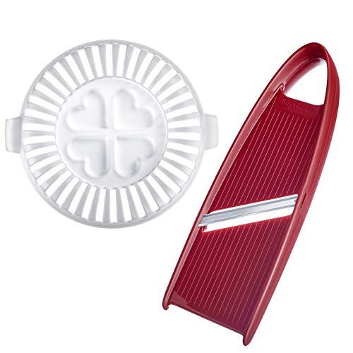Westmark DIY Chipsmaker-Set, 2-tlg.: Gestell + Gemüsehobel, mikrowellengeeignet, Rostfreier Edelstahl/Kunststoff, BPA-frei, Crunchy, Weiß/Rot, 11902260