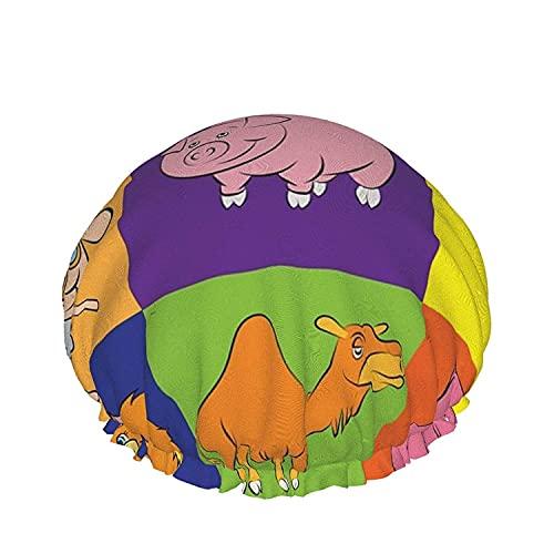 Casquillo de ducha De Animación De los Animales Para Los Niños DEL Libro De los Enigmas Reutilizables Baño Sombrero de Pelo, Elástica Reutilizables de Baño Sombreros Para Mujer Impermeable & Ajustable