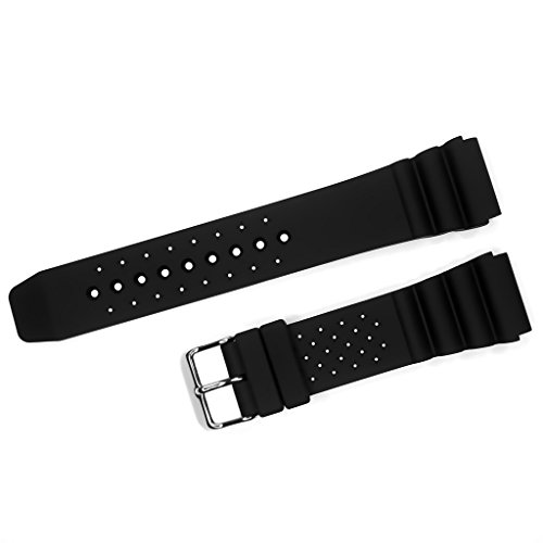 YQI Black Silicone Sport Strap 18mm 20mm 22mm Soft Rubber Watch Bands (20mm)